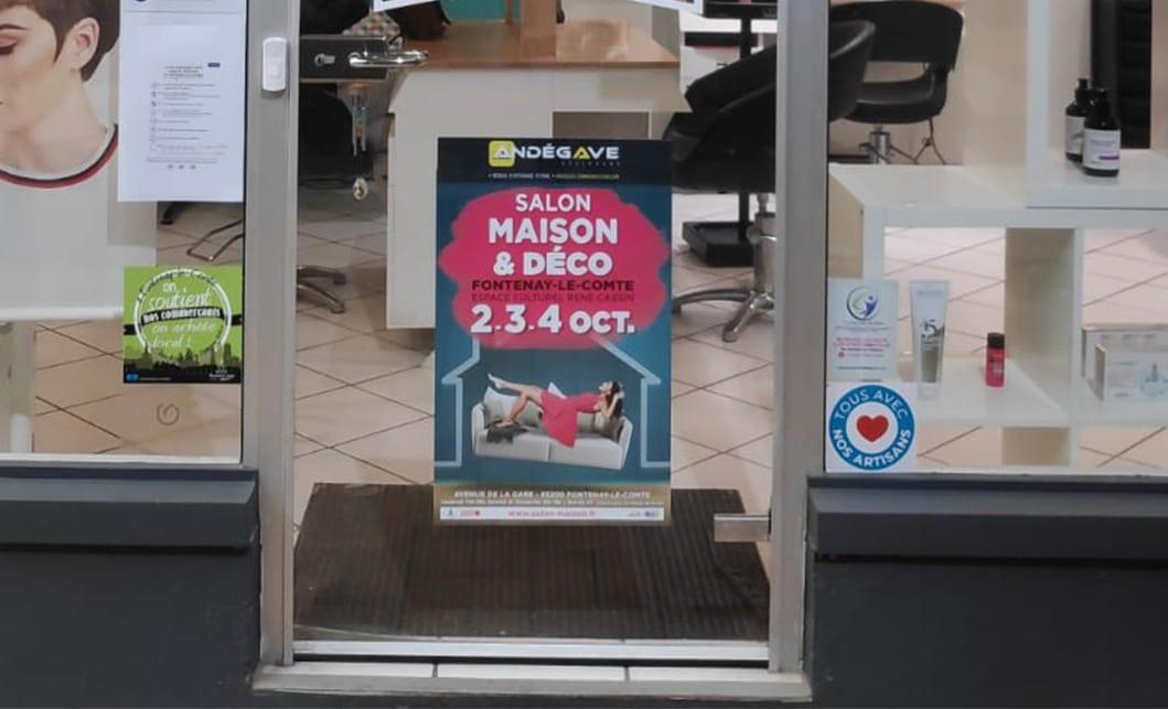Affichage vitrine salon Angers - Andégave Communication